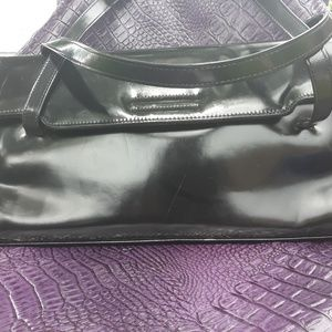 BCBGMaxAzria  Black Patent Leather Satchel Handbag